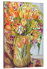 Aluminium print  Tulips and daffodils in an Art Nouveau vase - Joan Thewsey