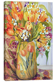 Canvas print  Tulips and daffodils in an Art Nouveau vase - Joan Thewsey
