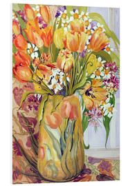 Foam board print  Tulips and daffodils in an Art Nouveau vase - Joan Thewsey