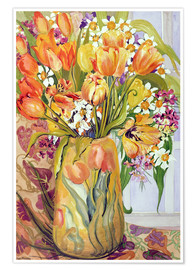 Premium poster  Tulips and daffodils in an Art Nouveau vase - Joan Thewsey