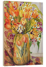 Wood print  Tulips and daffodils in an Art Nouveau vase - Joan Thewsey