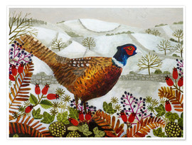 Premium poster Pheasant and Snowy Hillside