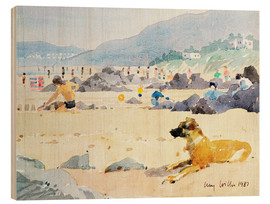 Wood print  Dog on the Beach, Woolacombe - Lucy Willis
