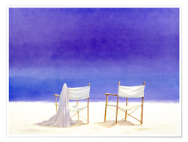 Premium poster  Chairs on the beach, 1995 - Lincoln Seligman
