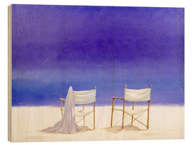 Wood print  Chairs on the beach, 1995 - Lincoln Seligman