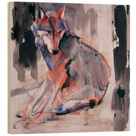 Wood print  Sitting wolf - Mark Adlington