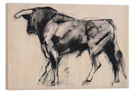 Wood print  Bull - Mark Adlington