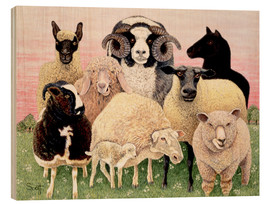 Wood print  several sheeps - Pat Scott