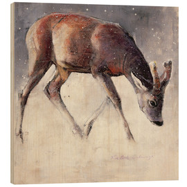 Wood print  Jung deer in winter - Mark Adlington