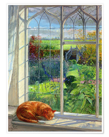 Poster  Cat in the window in summer - Timothy Easton