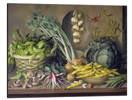 Aluminium print  Garlic, radishes and a peacock's eye, 1997 - Amelia Kleiser