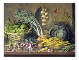 Premium poster  Garlic, radishes and a peacock's eye, 1997 - Amelia Kleiser