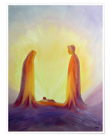 Premium poster  Mary and Jesus are looking at their child Jesus, 1995 - Elizabeth Wang