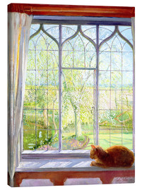 Canvas print  Cat in window in spring - Timothy Easton