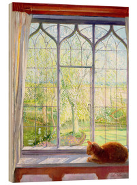 Wood print  Cat in window in spring - Timothy Easton