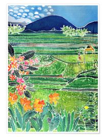 Premium poster  Lovina rice fields with lilies and frangipani, Bali, 1996 - Hilary Simon