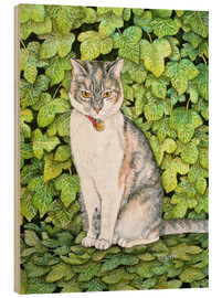 Wood print  Cat in ivy - Ditz