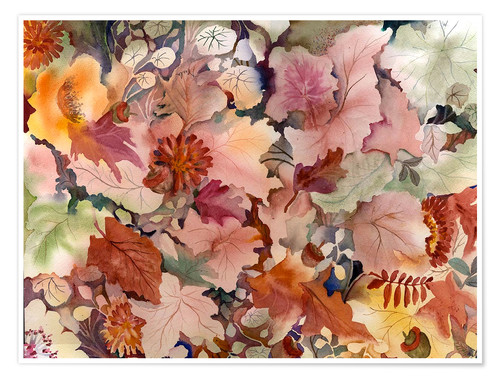 Premium poster Autumn leaves and flowers