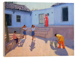Wood print  Filling Water Buckets, Rajasthan - Andrew Macara