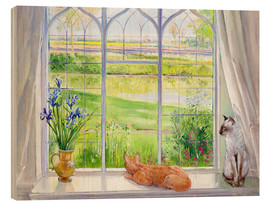 Wood print  Cats at the window - Timothy Easton