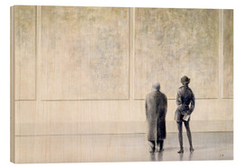 Wood print  Man and woman in an art exhibition - Lincoln Seligman