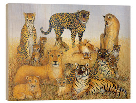 Wood print  Various big cats - Pat Scott