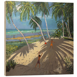 Wood print  Palm trees, Clovelly beach, Barbados - Andrew Macara