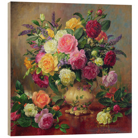 Wood print  Roses from a Victorian Garden - Albert Williams