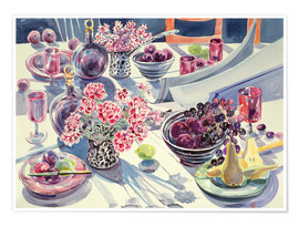 Premium poster  Black Maroon and white Kitchen Table - Elizabeth Jane Lloyd