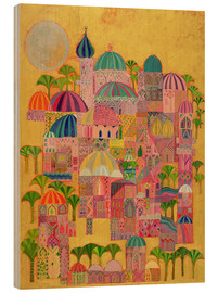Wood print  The Golden City - Laila Shawa