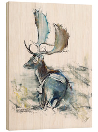 Wood print  Buck in the Grass - Mark Adlington