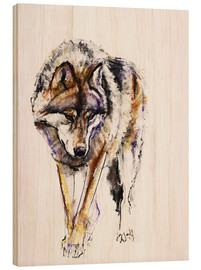 Wood print  European Wolf - Mark Adlington