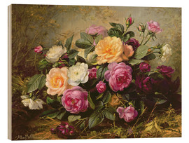 Wood print  Full Blown Roses - Albert Williams
