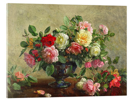 Acrylic print  Rose Bowl filled with Roses - Albert Williams