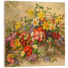 Wood print  Spring flowers and Poole Pottery II - Albert Williams