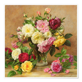 Premium poster Old-fashioned Victorian roses
