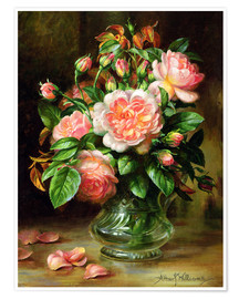 Premium poster English Elegance Roses in a Glass