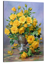 Aluminium print  Bright Smile - Roses in a Silver Vase - Albert Williams
