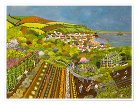 Premium poster  Allotments at Mousehole - Judy Joel