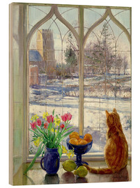 Wood print  Snow Shadows and Cat - Timothy Easton