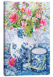 Canvas  Gerberas in a Coalport Jug with Blue Pots - Joan Thewsey