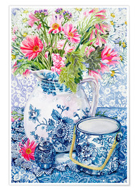 Poster  Gerberas in a Coalport Jug with Blue Pots - Joan Thewsey