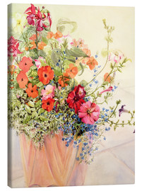 Canvas print  Petunias, lobelia, fluffy lizards and fuchsias in the terracotta pot - Joan Thewsey
