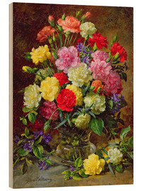 Wood print  Carnations of Radiant Colours - Albert Williams