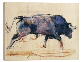 Wood print  Charging bull - Mark Adlington