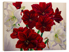 Wood print  Red and white Amaryllis, 2008 - Christopher Ryland