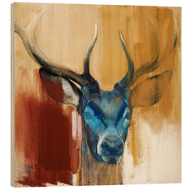 Wood print  Head of a deer - Mark Adlington