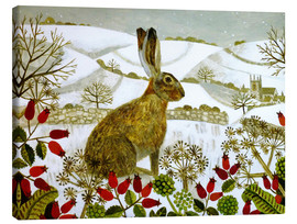 Canvas  Seated Hare in Snow - Vanessa Bowman