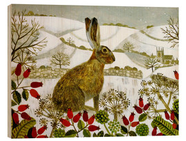 Wood  Seated Hare in Snow - Vanessa Bowman