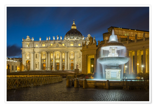 Premium poster Fountain at the St. Peters square Roma